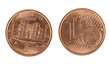 Italian one Euro cent coin - front and back, isolated over