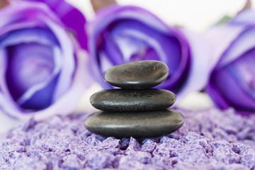piedras con flor violeta