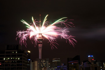 new year fireworks of Skytower