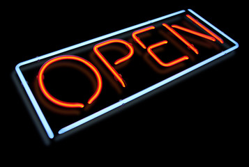 Open neon light sign with reflection