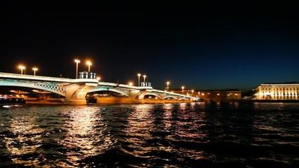 Ship departures from Blagoveshchensky Bridge across Neva