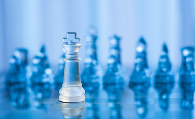 blue glass chess