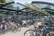 Leinwanddruck Bild - Bicycle shelter in a Dutch city