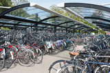 Bicycle shelter in a Dutch city
