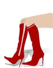 Gambe con stivali rossi