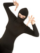 female thief in black clothes and balaclava