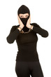 handcuffed female thief in black balaclava