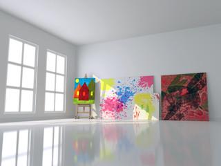 Interno con cavalletto per dipingere isolato 3d