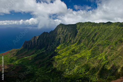 Rugged landscape of the Na Pali coast on Kauai Hawaii