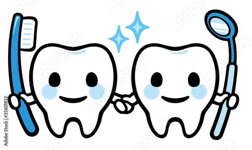 歯のキャラクター(歯ブラシとミラー)