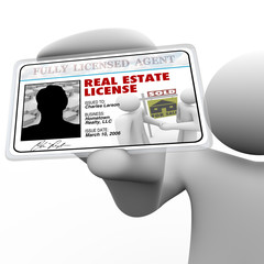 Real Estate Agent Holding License Laminated Identification Card