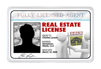 Laminated Card - Real Estate License for Agent Professional