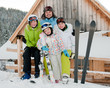 Family ski team on winter vacation
