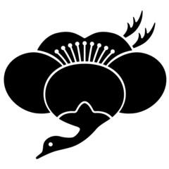 家紋/梅鶴[Japanese family crest]