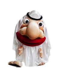 traditional arabian mascot costume isolated