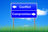 Conflict compromise roadsign on sky background, grass underneath poster