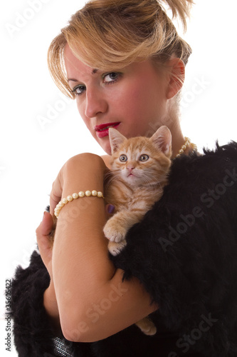 woman hold her lovely cat