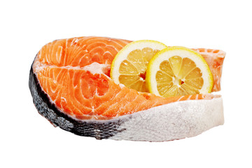 Salmon fillets with lemon on a white background