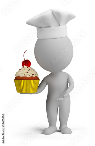 3d small people - confectioner with cupcake