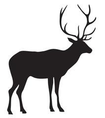 Black silhouette of a deer.