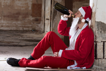 Alcoholic Santa Drinking a Wine Bottle