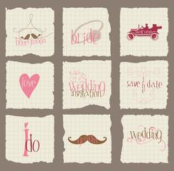 Paper Love and Wedding Design Elements -for invitation, scrapboo