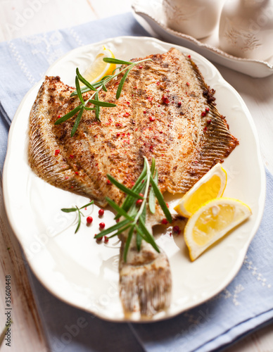 Rustic pan fried turbot with rosemary and lemon