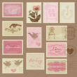 Retro Postage Stamps - for wedding design, invitation, congratul