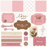 Fototapety Scrapbook design elements - Vintage Love Set