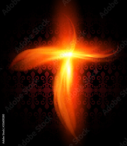 Abstract background with burning fire cross
