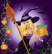Halloween sexy witch with pumpkin