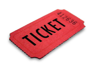 Red event ticket isolated on white