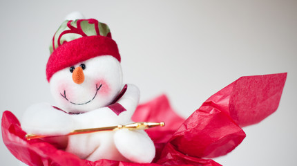 Winter holiday snowman background.