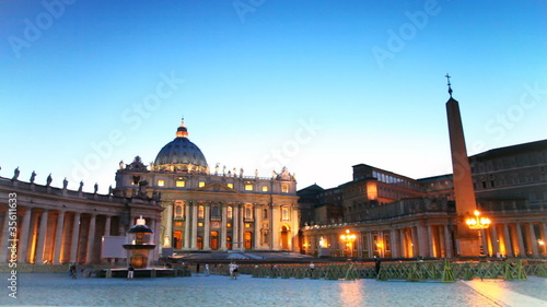 Illuminated area and St. Peters Basilica at Vatican