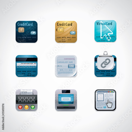 Credit card square icon set
