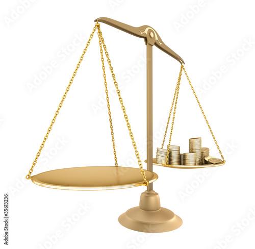 Leinwandbild Motiv Gold balance. Something equal with money, isolated