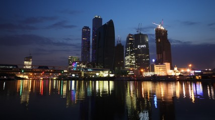 Calm Moscow-City business center at night