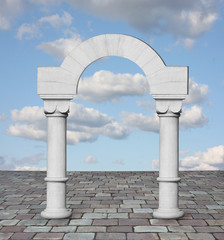 Classic arch with clouds and blue sky