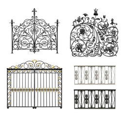 Collection of black forged gates and decorative lattice