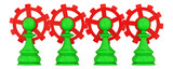 Four green pawns merged with red gears. poster