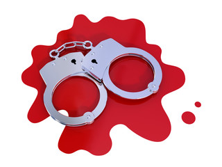 Iron handcuff on bloody stain.