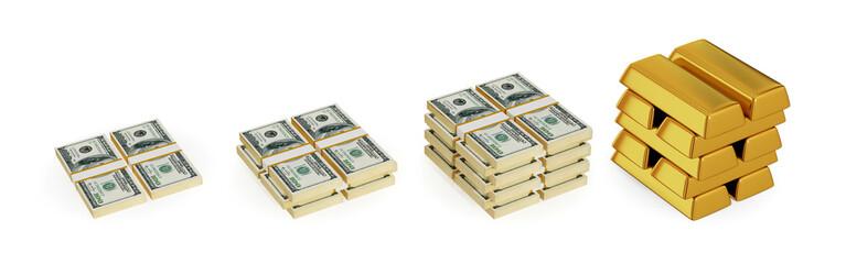 Dollar packs and gold bars.