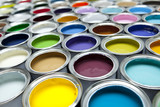 Colourful paint pots