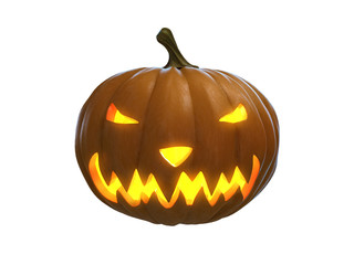 happy helloween pumpkin isolated on white