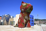 Flower dog from Bilbao with modern art museum in the background - Fine Art prints