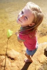 Happy girl fishing