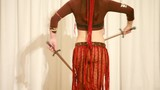 moving torso of woman with knife dancing belly dance