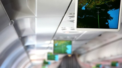 Aircraft cabin, under ceiling hung displays and show information