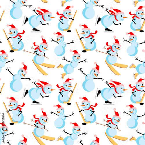 Cotton fabric Snowman seamless pattern