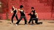 Four girls move from both side and dance in modern style
